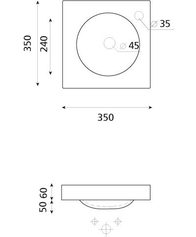 Technische Zeichnung des Waschbeckens
